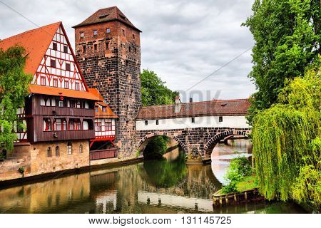 Maxbrucke bridge and Henkerturm tower in Nuremberg, Germany