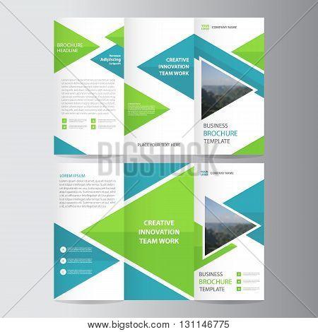 Green blue triangle trifold business Leaflet Brochure Flyer template vector minimal flat design set