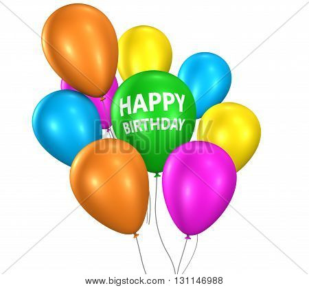 Happy birthday sign on colorful floating party balloons for birthday celebration and decoration 3D illustration isolated on white background.