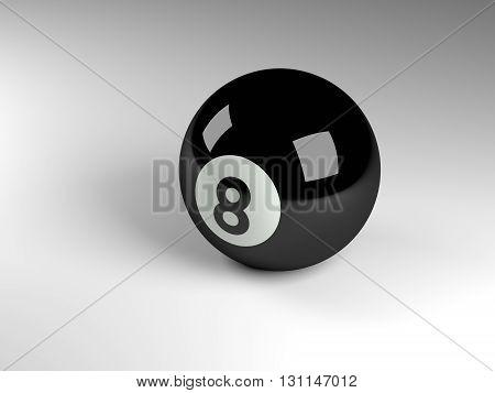 3d render of a black pool ball