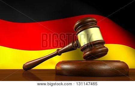 Germany laws legal system and justice concept with a 3D rendering of a gavel and the German flag on background.