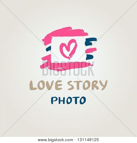 Hand drawn vector logo with heart. Illustration love story photo. Wedding Photography.
