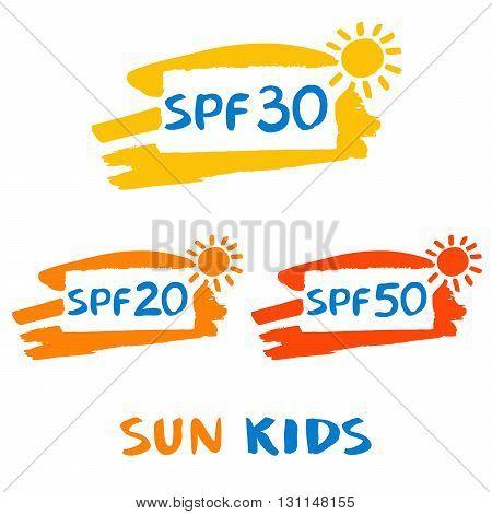 Vector Logo For Sun Protect Cream. Illustration Of Sun Protectio