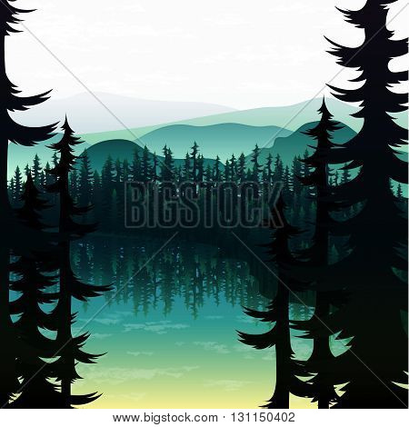 Summer nature landscape on the background of mountains forests and rivers .