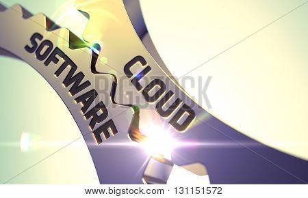 Cloud Software - Technical Design. Cloud Software on the Mechanism of Golden Cog Gears with Lens Flare. Golden Cogwheels with Cloud Software Concept. 3D.