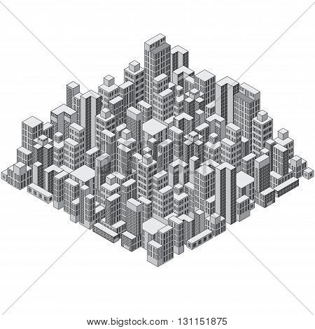 Isometric Abstract City Composition. Ready for your Design.