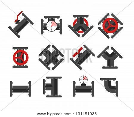 Pipe Fitting Vector Set. Pipeline Vector Illustration. Pipe Fitting For Repair Home. Gas Pipe. Water