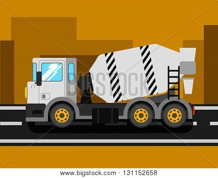Construction Cement Mixer Truck. Building Concrete Mixer Car. Delivery Concrete To Construction. Con