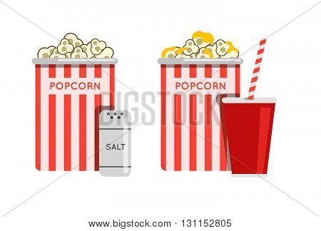 Popcorn Food Vector Illustration. Popcorn In Bucket. Big Popcorn Box. Salt Popcorn. Caramel Popcorn.