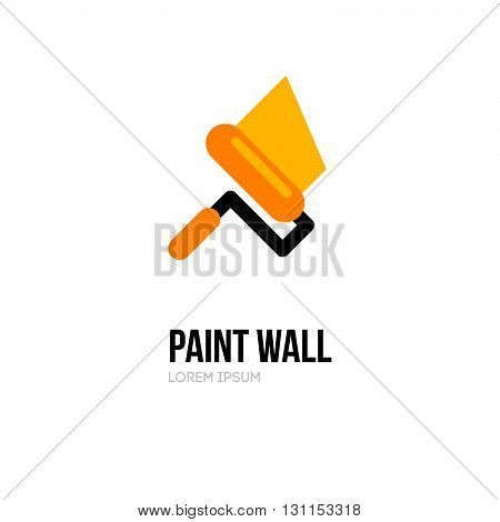 Paint Roller Logo Icon Design Template. Vector Paint Roll Logo. Painting Of Walls. Repair Of Apartme