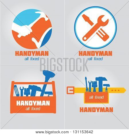 Handyman Business Sign Vector Set. Amenities repair house hold equipment fixing symbols. Vector graphics for working tools plumbing renovation best quality service concept. Sample text. Editable poster