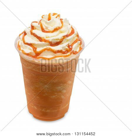 Thai tea smoothie in takeaway glass isolated on white background with clipping path