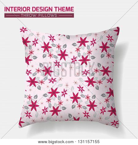 Decorative Floral Throw Pillow design vector template in red & pink. Original pattern is complete masked. Interior design element. Creative Sofa cushion. Vector design is layered editable