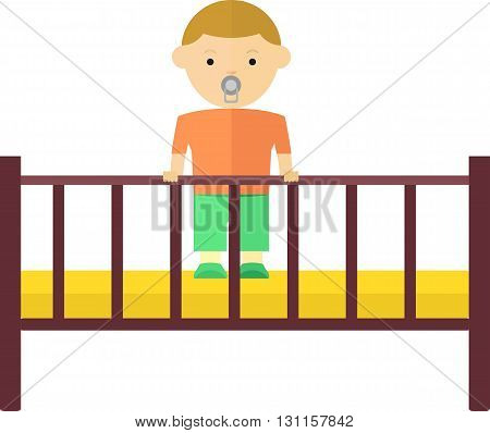 A little boy plays in the playpen. Satisfied baby with a pacifier. Objects isolated on a white background. Flat vector illustration.