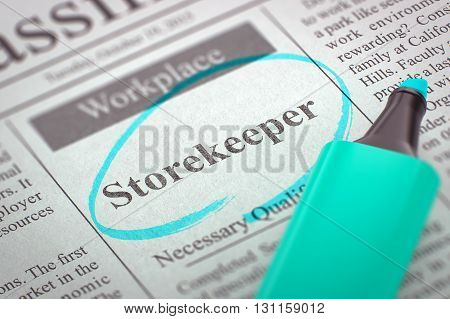 Newspaper with Job Vacancy Storekeeper. Storekeeper. Newspaper with the Vacancy, Circled with a Azure Marker. Blurred Image. Selective focus. Hiring Concept. 3D Render.