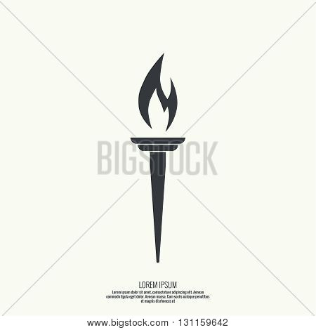 Vector icon of  torch with a flame. Black torch