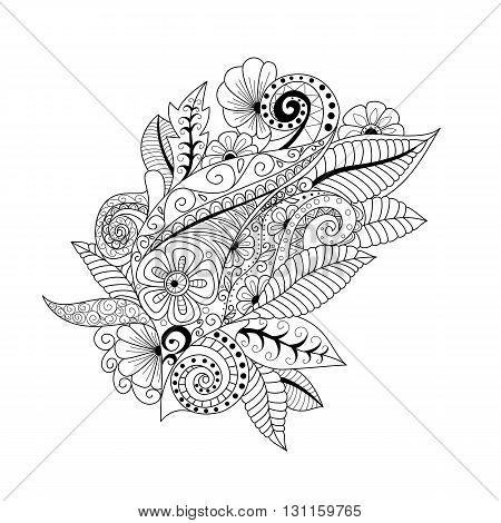 Hand Drawn Floral Background  Doodle  Style. Design For Cover,  Bag, Knapsack, Notebook, Datebook .