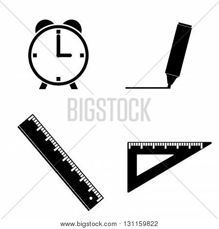 straightedge and clock illustration in black color