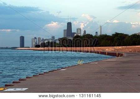 Chicago IL - June 10 2015. Lake shore and downtown Chicago in sunrise light Illinois USA