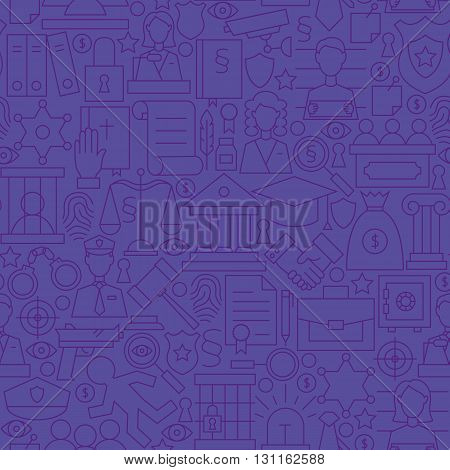 Thin Purple Attorney Lawyer And Justice Line Seamless Pattern