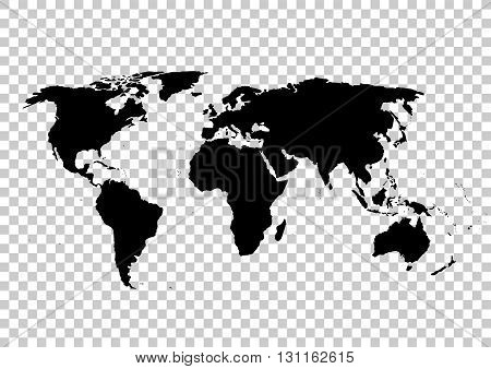 Black vector map. World map blank. World map template.World map on the background of the grid. Vector illustration.