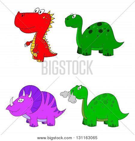 dino set icon 4 vector variations cartoon dinosaur