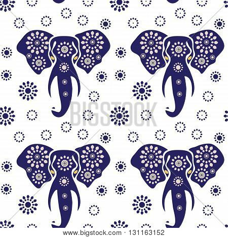 Elephant seamless pattern print. Vector illustration of elephant head (african elephant) Print. Ethnic pattern. Ethnic elephant seamless pattern