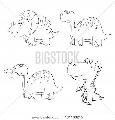dino set icon 4 vector different contour dinosaur frame