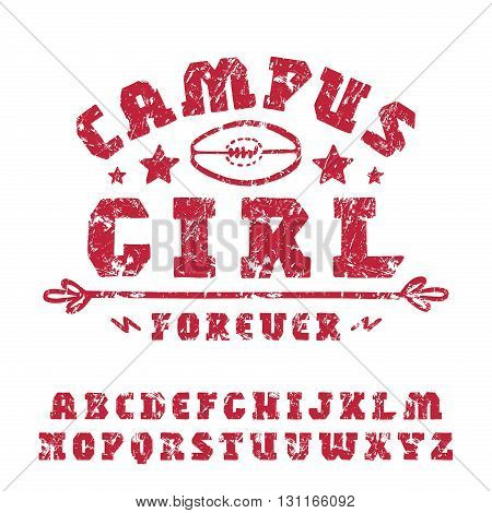 Slab serif font hand-drawn. Extra bold face. Graphic design for t-shirt poster