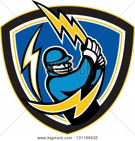 Illustration of a cricket player batsman with lightning bolt bat batting viewed from front set inside shield crest on isolated background done in retro style.