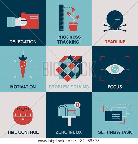High productivity, success business workflow and time management symbols.