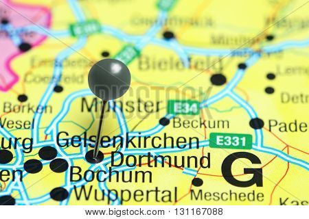 Dortmund pinned on a map of Germany