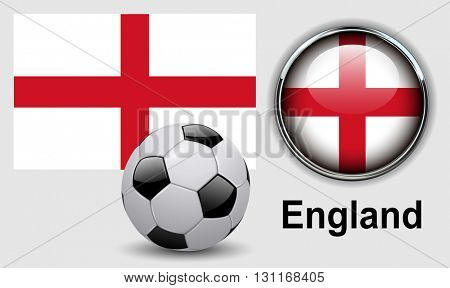 England flag icons with soccer ball, vector design.