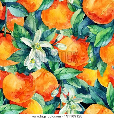Watercolor mandarine orange fruit with leaves and blossom seamless pattern on black background. Orange citrus tree. Mandarin bloom. Tangerine leaf flower in retro style. Hand painted illustration
