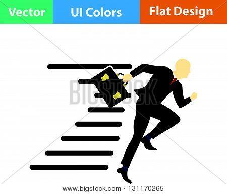 Flat Design Icon Of Accelerating Businessman