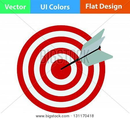 Flat Design Icon Of Target With Dart