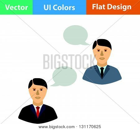 Chating businessmen icon. Vector illustration. Flat design ui.