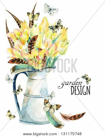 Watercolor flower garden card with tulips feathers butterfly and rustic jug. Spring flowers in vintage jar on white background. Floral illustration for greetings invitations wedding card design