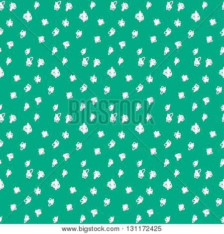 Doodle Seamless Pattern Background. Hand Drawn Circles Isolated On Stylish Green Cover
