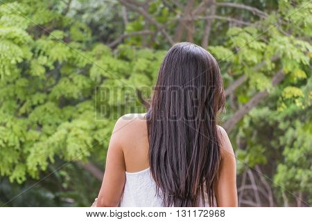 Elegant Young Adult Woman Back View