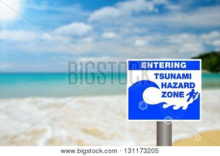 Tsunami Sign On Blur Tropical Beach Abstract