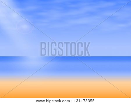 Vector illustration background empty sea beach. Blue ocean, blue sky with clouds and the lights of a sun.