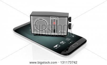 Antique radio transistor on smartphone's screen, isolated on white background. 3D rendering