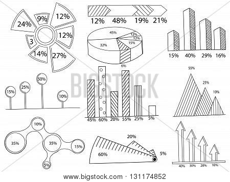 Big set of infographics elements. EPS10. Vector chart report template made from lines and icons