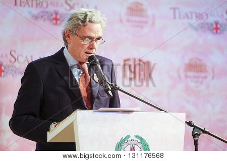 Moscow, Russia - May, 23, 2016: ambassador of Italy in Russia Cesare Maria Ragaglini on the press conference devoted to tours of the La Scala theater in Moscow.