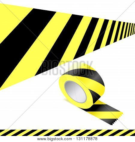 Black and yellow striped chevron tape to attract attention a warn of a hazard or risk oblique angle unrolled flat and a roll