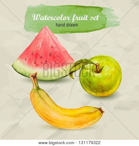 Vector watercolor hand drawn fruit set on paper with watercolor drops. Organic food illustration. Watermelon green apple and banana.