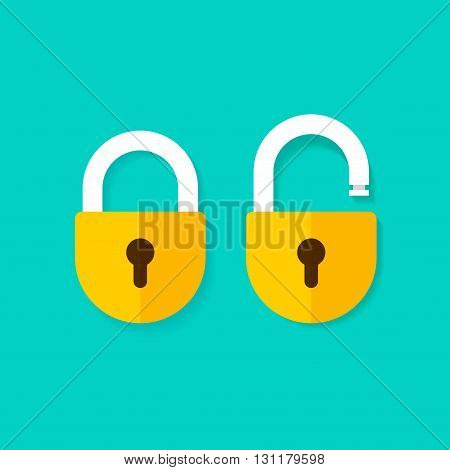Lock open and lock closed vector icons isolated on blue background yellow padlocks shapes illustration flat cartoon locks set design