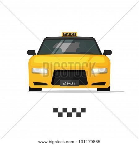 Taxi cab vector illustration isolated on white background yellow taxi car with taxi light flat cartoon luxury taxi design