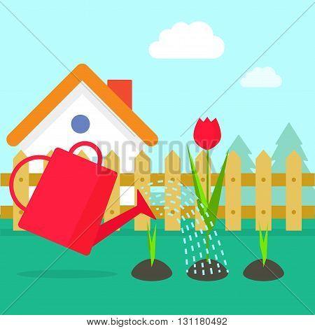Garden vector illustration cartoon village garden with house red water can watering flowers sprouts gardening concept design